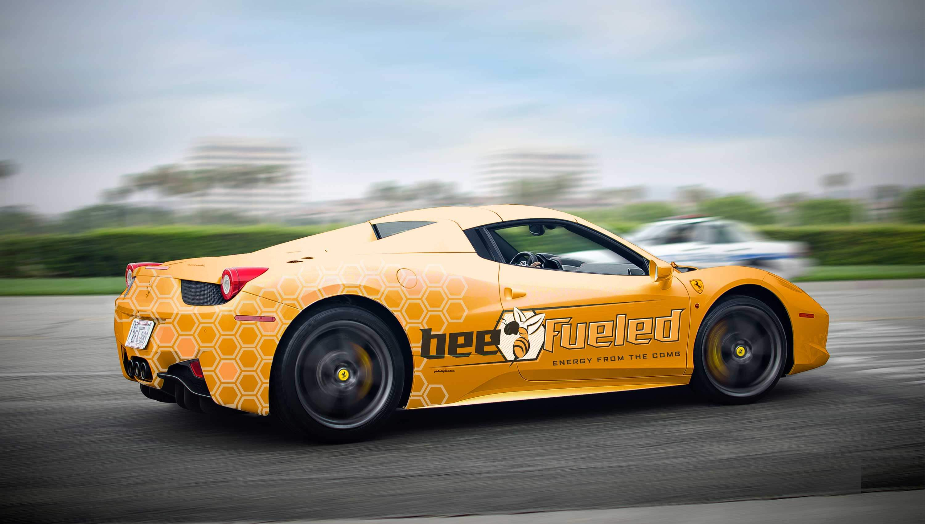 Bee Fueled car wrap design.