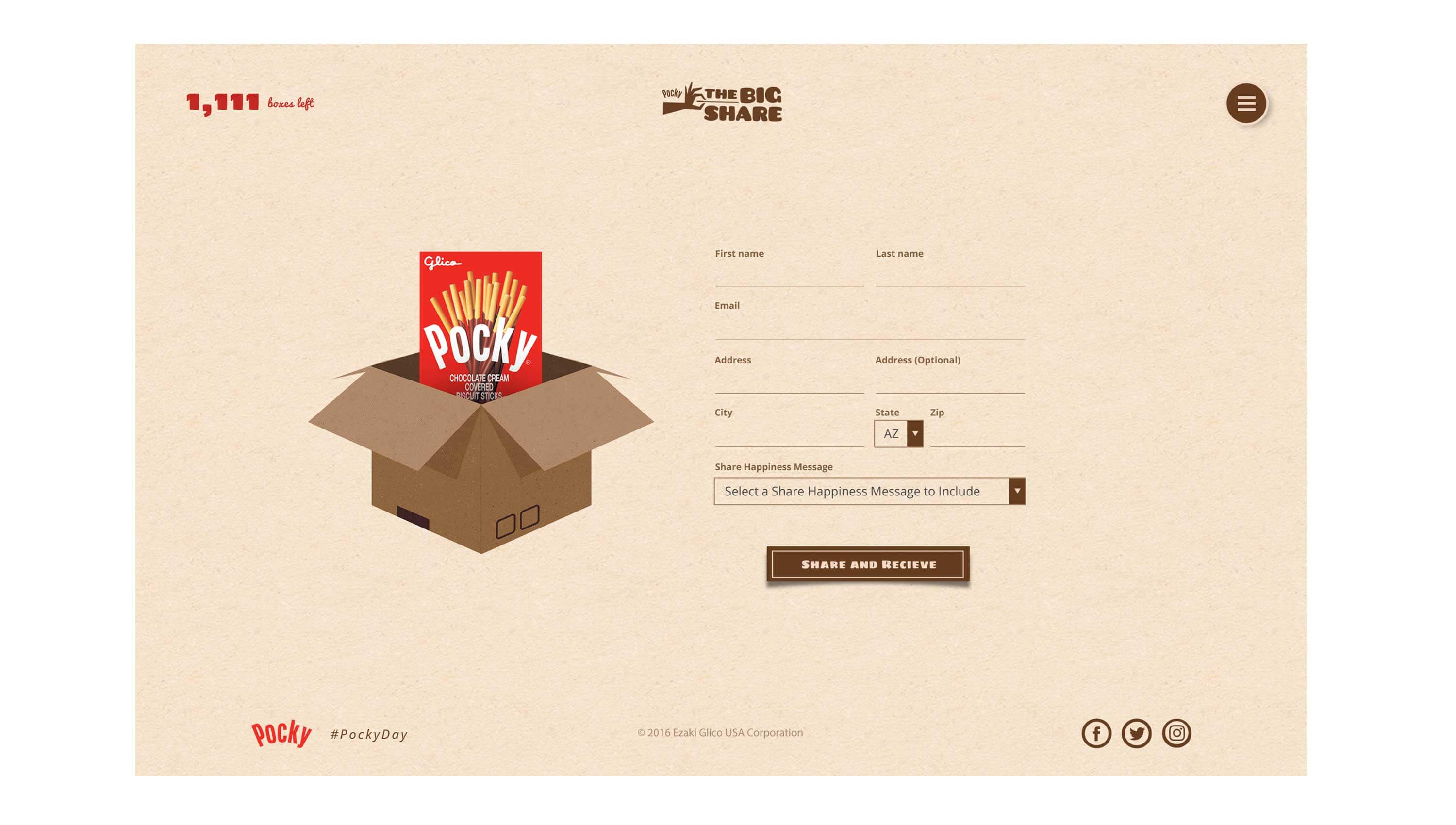 Pocky Day microsite share a box