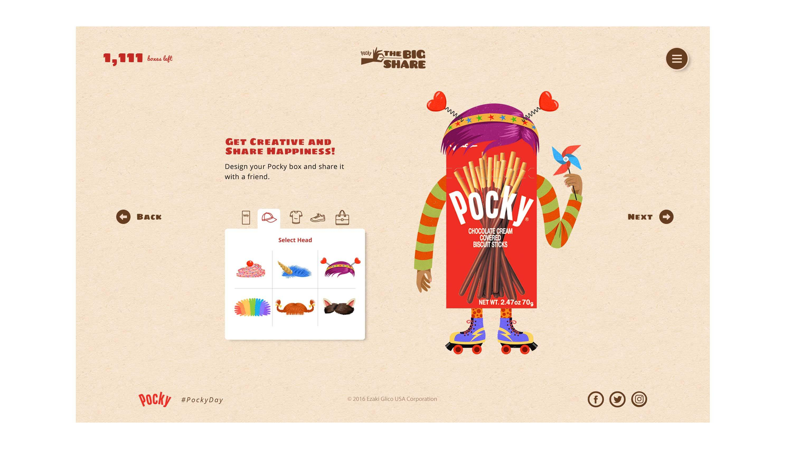 Pocky Day microsite create a character