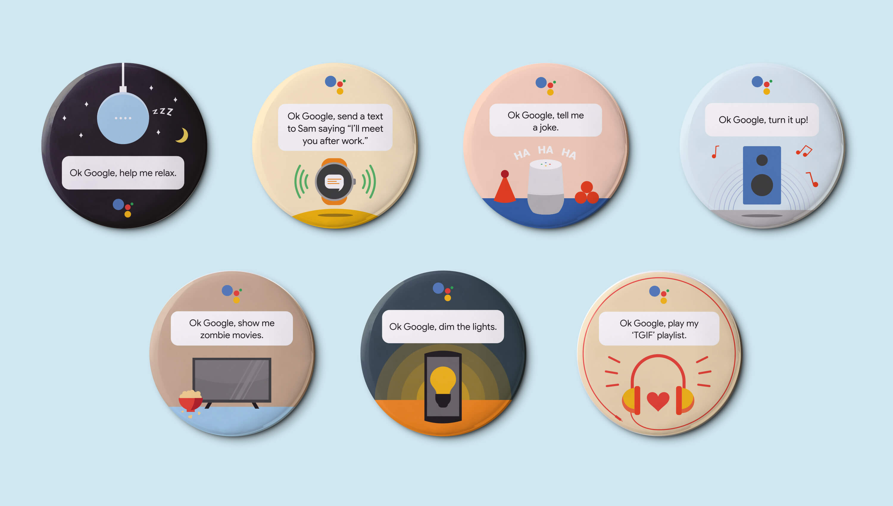 Google pins with illustration for common Google Home queries