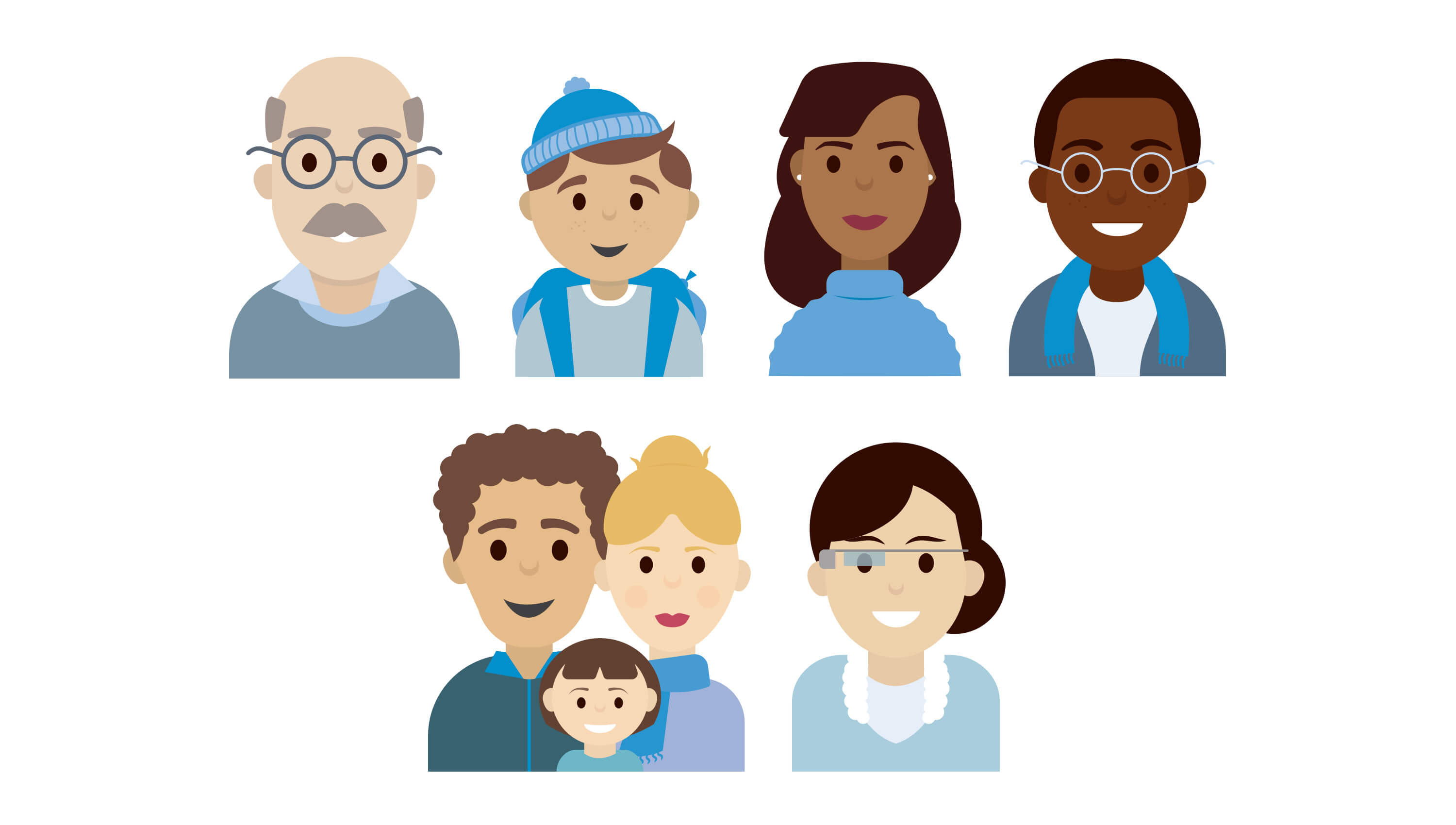 Google use case character illustrations